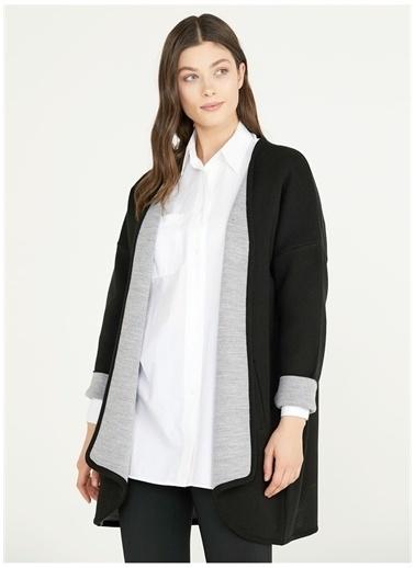 Sementa Sementa Düz Yaka Düz Siyah - Gri Kadın Ceket Renkli